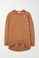 Givenchy Oversized Button Embellished Wool Sweater Beige