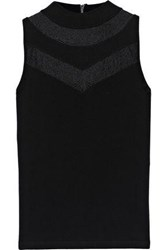 Milly Woman Lace Trimmed Knitted Top Black