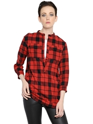 Burberry Checked Wool Shirt Red