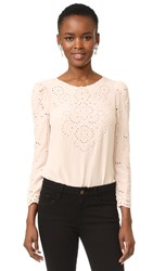Rebecca Taylor Long Sleeve Eyelet Top