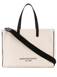Golden Goose Slogan Print Canvas Tote 60
