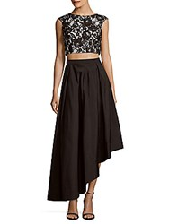 Adrianna Papell Lace Top And Skirt Set Black Ivory