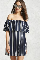 Forever 21 Off The Shoulder Flounce Dress Navy Cream