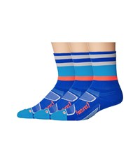 Feetures Elite Light Cushion Mini Crew 3 Pair Pack Cobalt Lava Multi Stripe Crew Cut Socks Shoes Blue