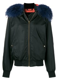 Mr And Mrs Italy Trimmed Bomber Jacket Black