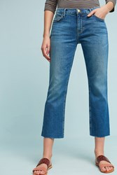 Anthropologie Current Elliott Mid Rise Straight Cropped Jeans Denim Medium Blue
