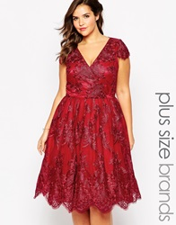 Chi Chi Plus Chi Chi London Plus Wrap Front Lace Prom Dress Red