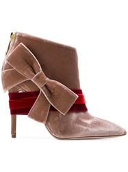 Fausto Puglisi Pointed Toe Booties Pink And Purple