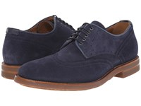 Aquatalia By Marvin K Carson Navy Dress Suede Men's Lace Up Casual Shoes Blue