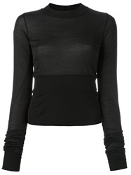Rick Owens Longsleeved Fitted Panel T Shirt Black
