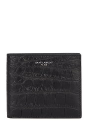 Saint Laurent Crocodile Effect Black Leather Wallet