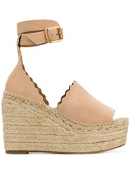 Chloe Scalloped Trim Wedges Nude And Neutrals