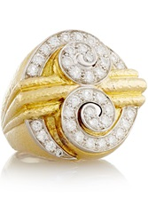 David Webb Double Scroll 18 Karat Gold Platinum And Diamond Ring