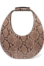 Staud Moon Snake Effect Leather Tote Beige