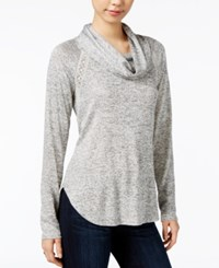 Maison Jules Lace Inset Cowl Neck Sweatshirt Only At Macy's Grey Combo