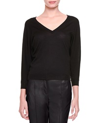 Bottega Veneta Merino Wool V Neck Sweater Nero