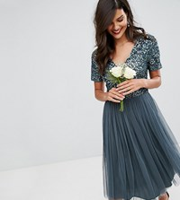 Maya Cap Sleeve Midi Dress In Tonal Delicate Sequin With Tulle Skirt Blue