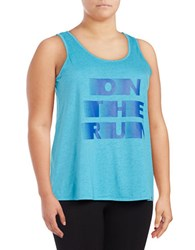 Marc New York On The Run Text Graphic Tank Top Turquoise