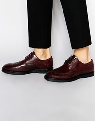 Asos Derby Shoes In Burgundy Leather With Ski Hooks Red