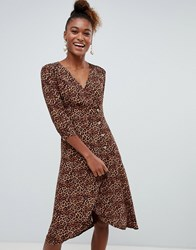 Monki Leopard Print Wrap Dress With Buttons In Brown