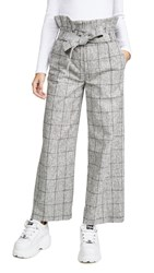Laveer Paperbag Belted Trousers Grey Heathered Check
