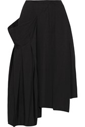 Marc By Marc Jacobs Pleated Asymmetric Stretch Cotton Midi Skirt Black