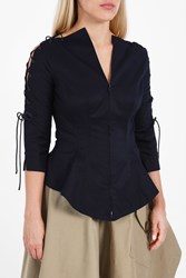 Monse Women S Lace Up Jacket Boutique1 Navy