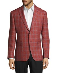 Lauren Silver Linen Windowpane Blazer Red
