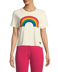Aviator Nation Rainbow Cropped Boyfriend Tee White