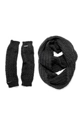 Muk Luks Twisted Rib Eternity Scarf And Armwarmers Set