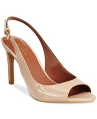 Cole Haan Juliana Open Toe Slingback Dress Pumps Women's Shoes Maple Sugar Patent