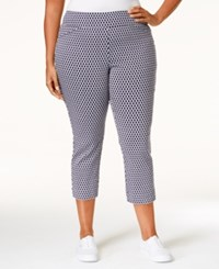 Charter Club Plus Size Printed Tummy Control Capri Pants Only At Macy's Deepest Navy Combo
