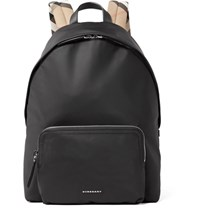 Burberry Checked Twill Trimmed Shell Backpack Black
