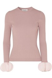 Valentino Silk Georgette Trimmed Ribbed Stretch Knit Sweater Pink