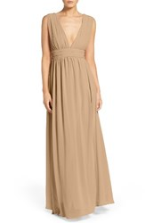 Lulus Women's Plunging V Neck Chiffon Gown Nude