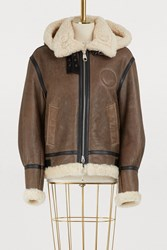 Chloe Shearling Bomber Jacket Authentic Brown
