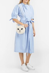 Sea Tie Waist Shirt Dress Blue