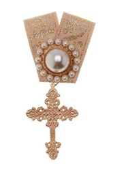 Cara Accessories Synthetic Pearl And Cross Embellished Ribbon Pin Metallic