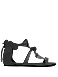 Isabel Marant Audry Ruffle Trimmed Flat Leather Sandals Black