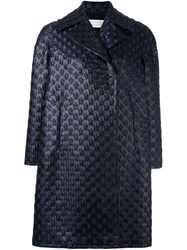 Gianluca Capannolo Brocade Oversized Coat Blue