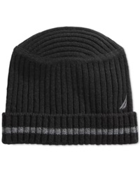 Nautica Hat Striped Flat Top Ribbed Beanie