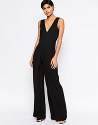 Asos V Neck Jumpsuit In Wide Leg With Pleat Black