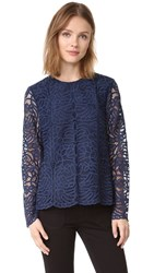 Jenni Kayne Long Sleeve Lace Top Navy
