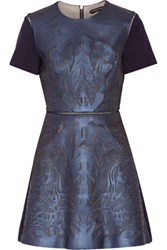 Catherine Deane Laser Cut Leather Mesh And Ponte Mini Dress Navy