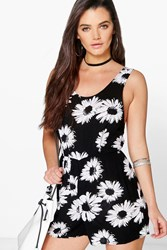Boohoo Large Daisy Print Low Back Playsuit Black