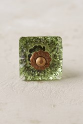 Anthropologie Faceted Cube Knob Moss