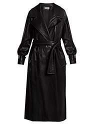 Wanda Nylon Oversized Coated Trench Coat Navy