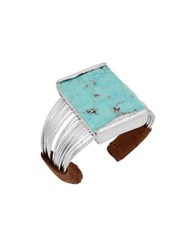 Robert Lee Morris Mosaic Semi Precious Turquoise Stone And Silverplated Multi Row Cuff Bracelet Blue