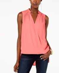 Inc International Concepts I.N.C. High Low Surplice Neck Top Polished Coral