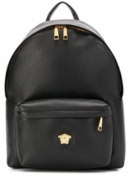 Versace Pebbled Texture Logo Backpack Black